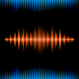 Blue and orange shiny sound waveform background Stock Image