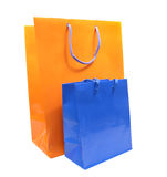 Blue and Orange Shopping Bags Isolated over White Stock Photo