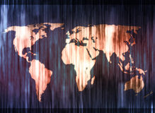 Blue and orange smudged world map. Blue and orange streaked world map Stock Images