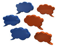 Blue and orange speech bubbles. 3d illustration of blue and orange speech bubbles Stock Photos