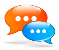 Blue and orange speech bubbles. Illustration of blue and orange speech bubbles Royalty Free Stock Photography