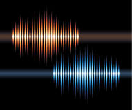 Blue and orange stereo waveform Royalty Free Stock Image