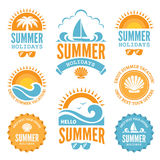 Blue and Orange Summer Holidays Labels Royalty Free Stock Photography