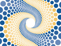 Blue orange swirl abstract. Spiral swirl made up of blue and orange spheres Stock Photography