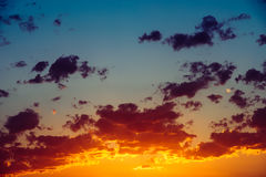 Blue And Orange Tranquil Summer Sunset Background Stock Photography