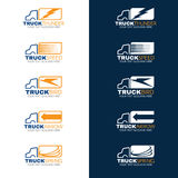 Blue and Orange Truck shipping logo vector Royalty Free Stock Images