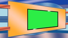 Blue and orange TV studio background stock image