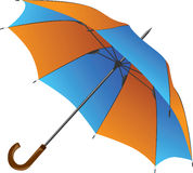 Blue-orange umbrella isolated on white background Royalty Free Stock Photos