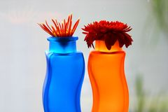 Blue and orange vases with flowers Stock Photography