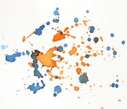 Blue and orange watercolor background splash Stock Image