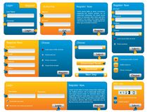 Blue and orange website form set Royalty Free Stock Images