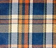 Blue orangish print fabric Stock Photo