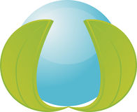 Blue orb with 2 leaves stock images