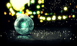 Blue Orb Snow 3D Bokeh City Background Stock Image