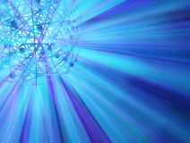 Blue Orbit Lights. Abstract 3d sphere shape light spectrum illustration background Stock Images