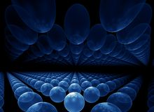 Blue orbs horizon Royalty Free Stock Photos