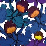 Blue orchid seamless pattern white background Stock Photos