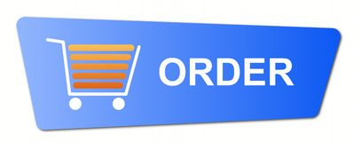Blue Order Button. With a shopping cart on white background Stock Photography