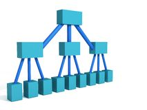Blue org chart. A 3d rendering depicting a classic org chart for a company Royalty Free Stock Image