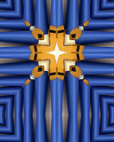 Blue organ pipes cross. Kaleidoscope cross from photo of blue and gold organ pipes, Queen of Angels Monastery, Mt. Angel, Oregon Stock Image