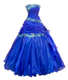 Blue organza evening dress, over white Stock Images
