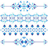Blue oriental border and ornament seventeen. Versions of Ottoman decorative arts, abstract flowers Royalty Free Stock Photos