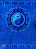 Blue Oriental Canvas Background. Painted Oriental Blue Canvas Background Texture with Harmony Symbol royalty free stock photography