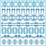 Blue oriental ottoman border design one. Series of patterns designed by taking advantage of the former Ottoman vector illustration