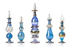 Blue oriental perfume bottles Stock Photography