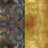 Blue orientalt patterned textured background with golden spraying Royalty Free Stock Image