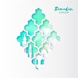 Blue Origami arabesque Mosque Window Ramadan Kareem Greeting card with arabic pattern. Royalty Free Stock Photography