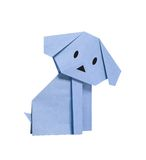 Blue origami dog. From recycled paper Royalty Free Stock Images