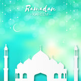 Blue Origami Mosque Ramadan Kareem Greeting card. Royalty Free Stock Images