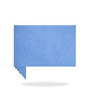 Blue origami talk tag recycled paper craft stick o. N white background Royalty Free Stock Photos