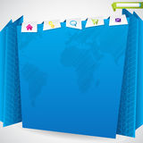 Blue origami website template Stock Image