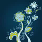 Blue ornament background. With decorative flowers and leaves Royalty Free Illustration