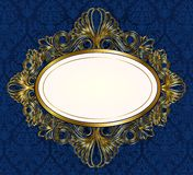 Blue ornament background with oval frame Royalty Free Stock Photos