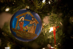 Blue ornament with the Nativity Royalty Free Stock Images