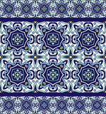 Blue ornament traditional Portuguese azulejos. Oriental seamless pattern Royalty Free Stock Image