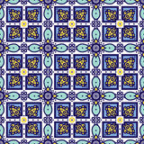 Blue ornament traditional Portuguese azulejos. Oriental seamless pattern Royalty Free Stock Photos