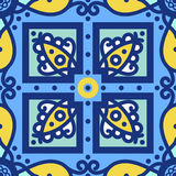 Blue ornament traditional Portuguese azulejos. Oriental seamless pattern Stock Images