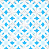 Blue ornament and white snowflakes seamless. Abstract 3d seamless background. Blue ornament and white snowflakes with cut out of paper effect Royalty Free Stock Images