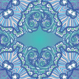 Blue ornamental background. Blue sea water background with waves and swirls Vector Illustration