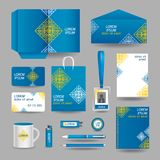 Blue ornamental business stationery template Royalty Free Stock Photography