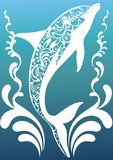 Blue ornamental dolphin. With colorful decorative flourish elements on sea background Royalty Free Stock Photography