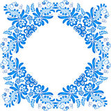 Blue ornamental floral frame in gzhel style Royalty Free Stock Images