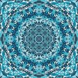 Blue ornamental kaleidoscope pattern Royalty Free Stock Image