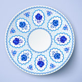 Blue ornamental vector plate in traditional style Royalty Free Stock Photo