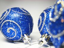 Blue ornaments 17. Christmas ornaments with silver shine stock photography