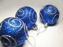 Blue ornaments 9. Christmas ornaments with silver shine royalty free stock photos